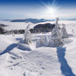 Winter landscape with the sun - Stock Photo