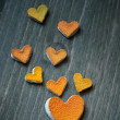 Hearts from the peel of citrus — Stock Photo