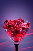 Coração de feltro em um vidro — Foto Stock