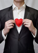 Cara com coração decorativa vermelho — Foto Stock