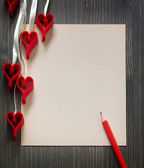 Background note and the hearts — Stock Photo
