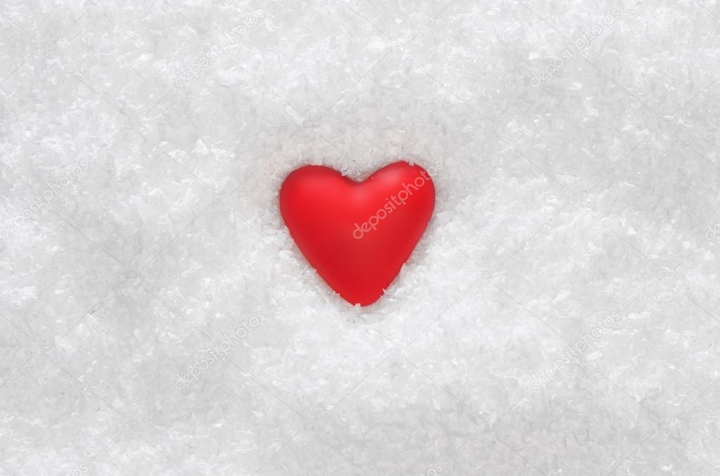 Red heart on the white snow  Foto Stock #18474053
