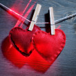 Two red decorative hearts - Stock Photo