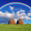 Stock Photo: Rainbow over haystacks