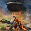 Cauldron on fire — Stock Photo