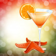 Orange cocktail in a glass and a starfish — Stock Vector