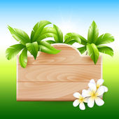 Tropical design. Palms and poster board with flowers — Stock Vector