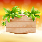 Summer design. Palms and poster board. tropical Vacation — Stock Vector
