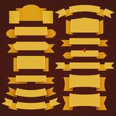 Sada klasických žluté stužky — Stock vektor