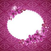 Illustration av rosa och blommor med utrymme för text — Stockvektor