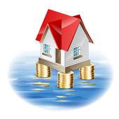 Hus, som inte är fruktansvärd katastrof. illustration av finansiell stabilitet — Stockvektor