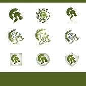 Set of vector elements on a theme of protection or army — Stock Vector