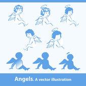 Angels. A vector illustration — Stock Vector