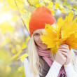 Girl with autumn leaves — Stock Photo #30877655