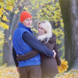 Stock Photo: Loving couple in the autumn park