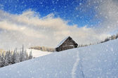Snowfall in the mountains — Stock Photo