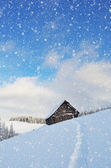 Wooden cottage in the mountains — Stock Photo