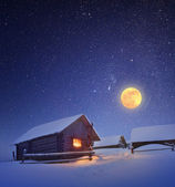 Full moon and hut — Foto de Stock