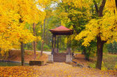 Gazebo in the autumn park — Stock Photo