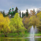 Monastery on the hill by the pond  — Stock Photo