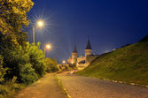 Night old town with a fortress  — Stock Photo
