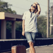 Hipster girl at railways platform. — Stok fotoğraf