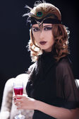 Rödhårig tjej i 20-s stil. — Stockfoto