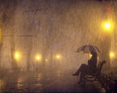 Single girl with umbrella sitting at the bench at night. — Stock Photo
