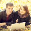 Beautiful couple with laptop at autumn park. - Stock Photo