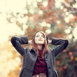 Style redhead girl at beautiful autumn alley. — Stock Photo #14283713