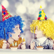 Two funny sisters four and eighteen years old - Stock Photo