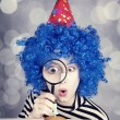 Funny girl with blue hair and striped jacket — 图库照片