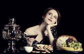 Portrait of beautiful rich russian women. — Stock Photo