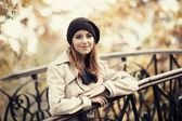 Style redhead girl at outdoor — Stock Photo