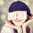 "Fashion girl with ""SHOP"" word on eyes. - Stockfoto"