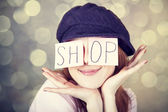 "Fashion girl with ""SHOP"" word on eyes. — Stock Photo"