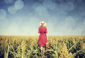 Redhead girl with suitcase at corn field. — Stock Photo