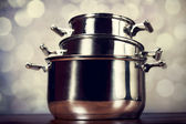 Steel cooking pots — Stock Photo