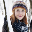 Beautiful young red-haired woman in winter park — Stock Photo #19005941