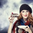 Style girl with cake and bokeh at background. - Stock Photo