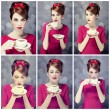 Photo collage - redhead girl with coffee cup. St. Valentine Day — Foto Stock