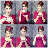 Photo collage - redhead girl with coffee cup. St. Valentine Day — Stock Photo