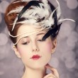 Redhead girl with Rococo hair style at vintage background. Photo — Stock Photo #21259597
