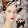 Redhead girl with Rococo hair style at vintage background. Photo — Stock Photo