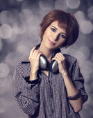 Girl with modern headphones. — Stock Photo
