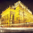 National Theater in the night with trams - Stock Photo
