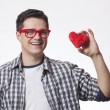 Portrait of a young man with heart shape — Stock Photo