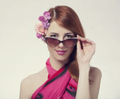 Beautiful and fashion girl in sunglasses — Stock Photo