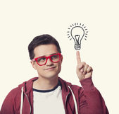 Young men hold finger on abstract idea lamp. — Foto de Stock