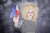 Beautiful girl with ringlets show European Union and Poland flag — Stock Photo